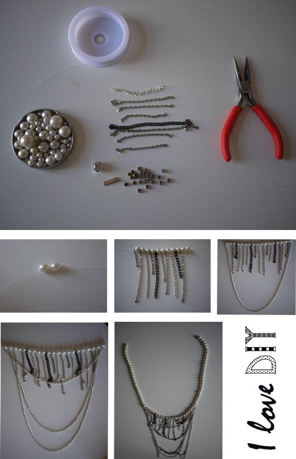collier perles et chaines