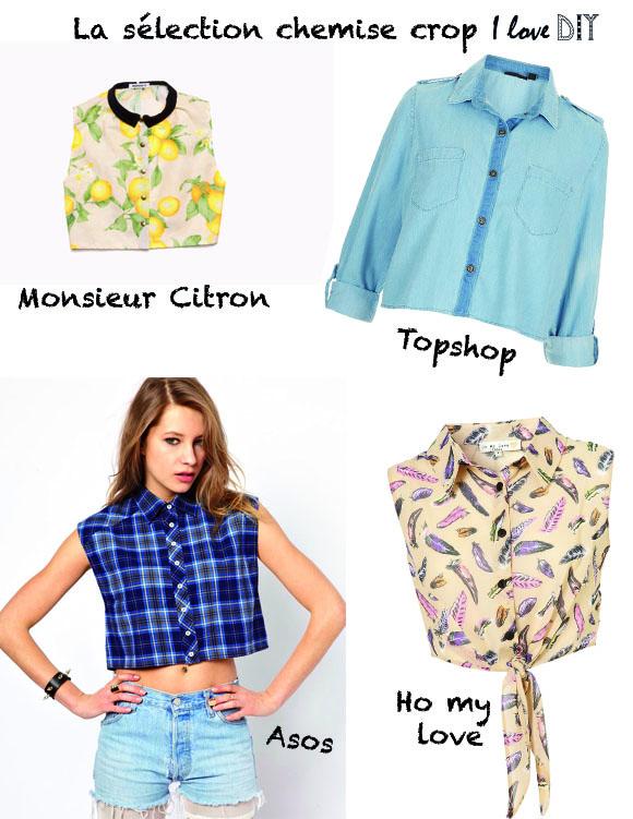 Selection chemise crop ilovediy