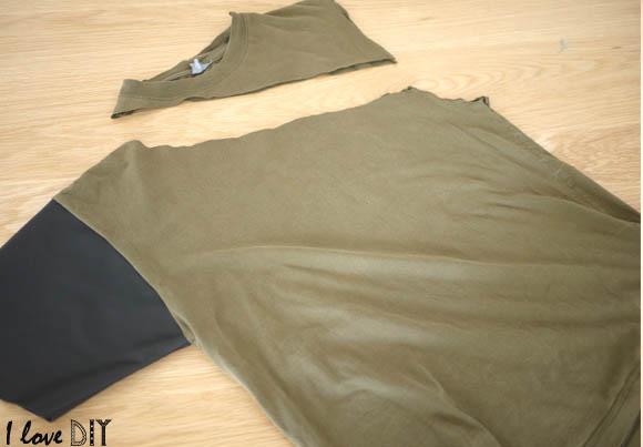 diy un top asym trique et manche en cuir asymmetric top and leather sleeve blog mode bon. Black Bedroom Furniture Sets. Home Design Ideas