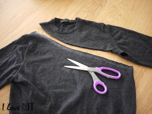 couper le pull en suivant le trait