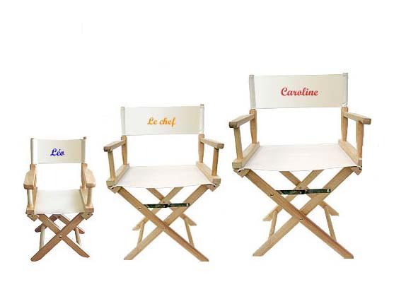 chaise de metteur en scène personnalisée