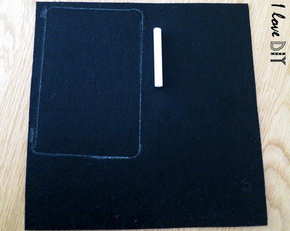 on obtient le forme de la tablette sur la feutrine