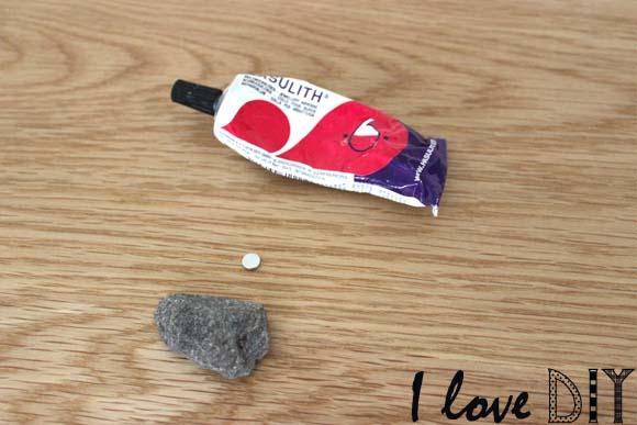 colle aimant et pierre pour creer des aimants DIY ilovedoityourself