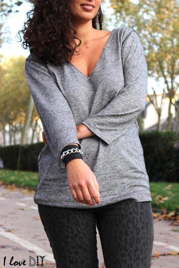 look du jour pull customisé jeans leopard et bracelet DIY ilovedoityourself