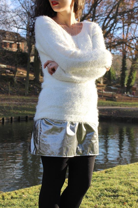 outfit de fêtes pull doudou et jupe argenté diy ilovedoityourself