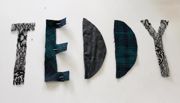 reproduire les lettres dans du tissu
