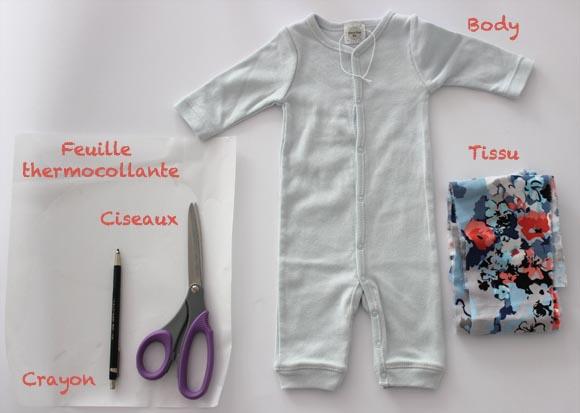 materiel pour customiser un body d'enfant