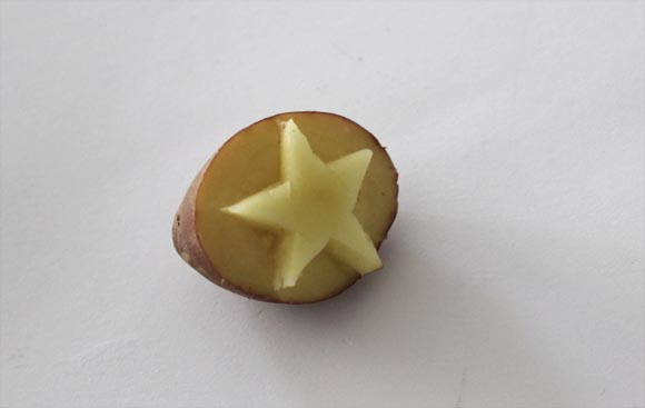 tampon etoile pomme de terre