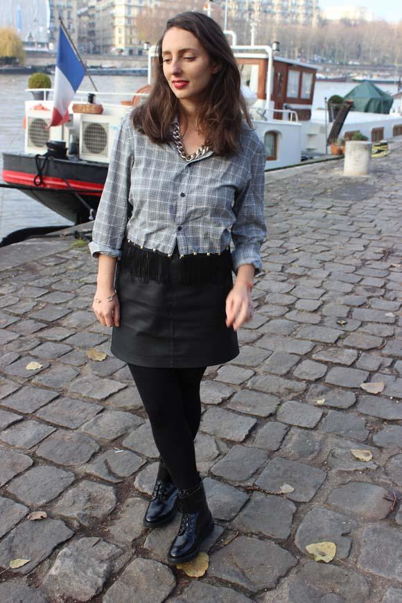 look chemise diy jupe en cuir only boots zign zalando