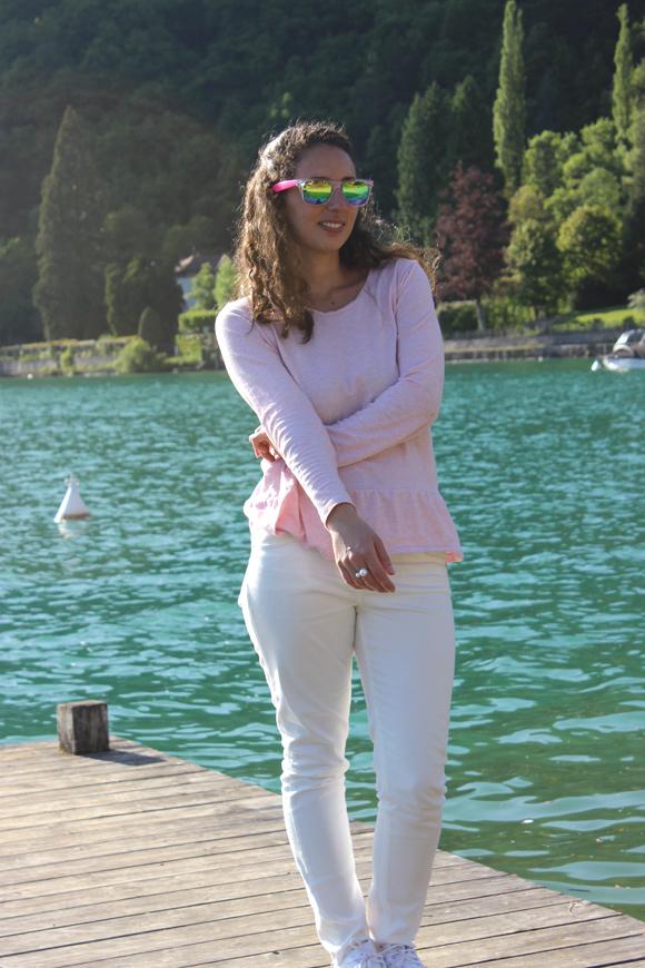look blanc et rose jeans tati