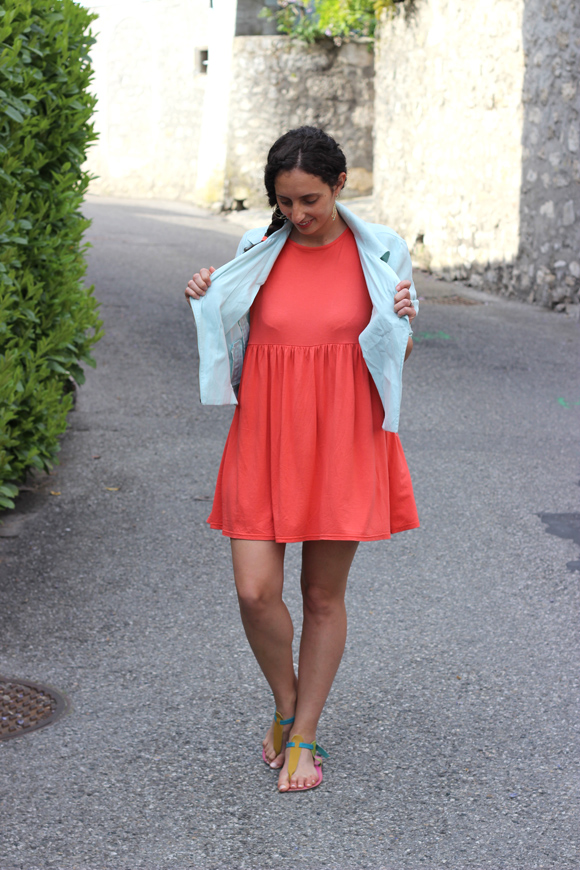 look robe orange boohoo perf veromoda