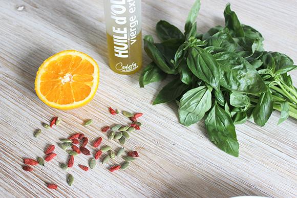 assaisonnement orange huile dolive basilic