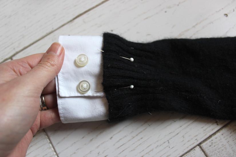 epingler des manches de chemises sur un pull ilovediy