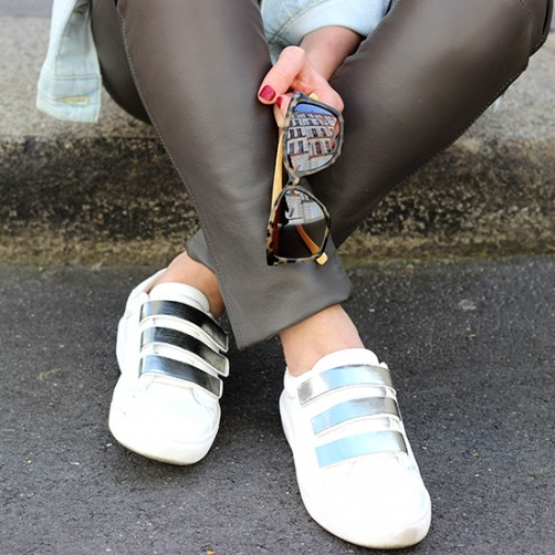 white sneakers customized streetstyle paris