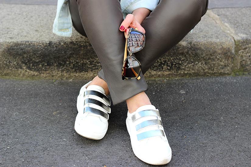 white sneakers customized streetstyle paris
