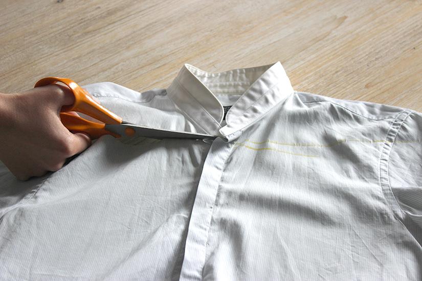 decoupez le haut de la chemise