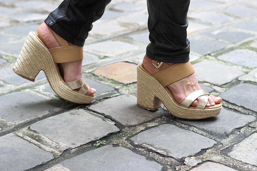 sandales compensees paille talons stradivarius
