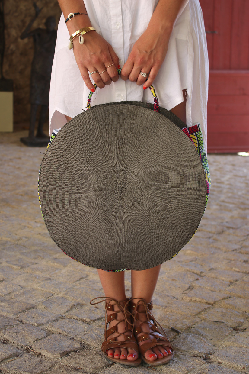 realizar una cesta redonda en sí misma idea verano bricolaje