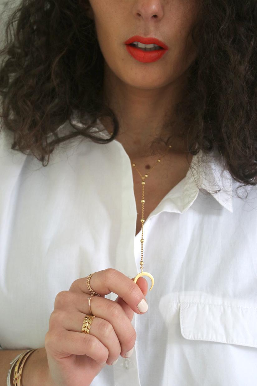 collier corne plaque or diy
