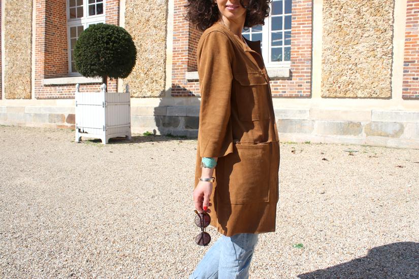 look veste longue en daim camel