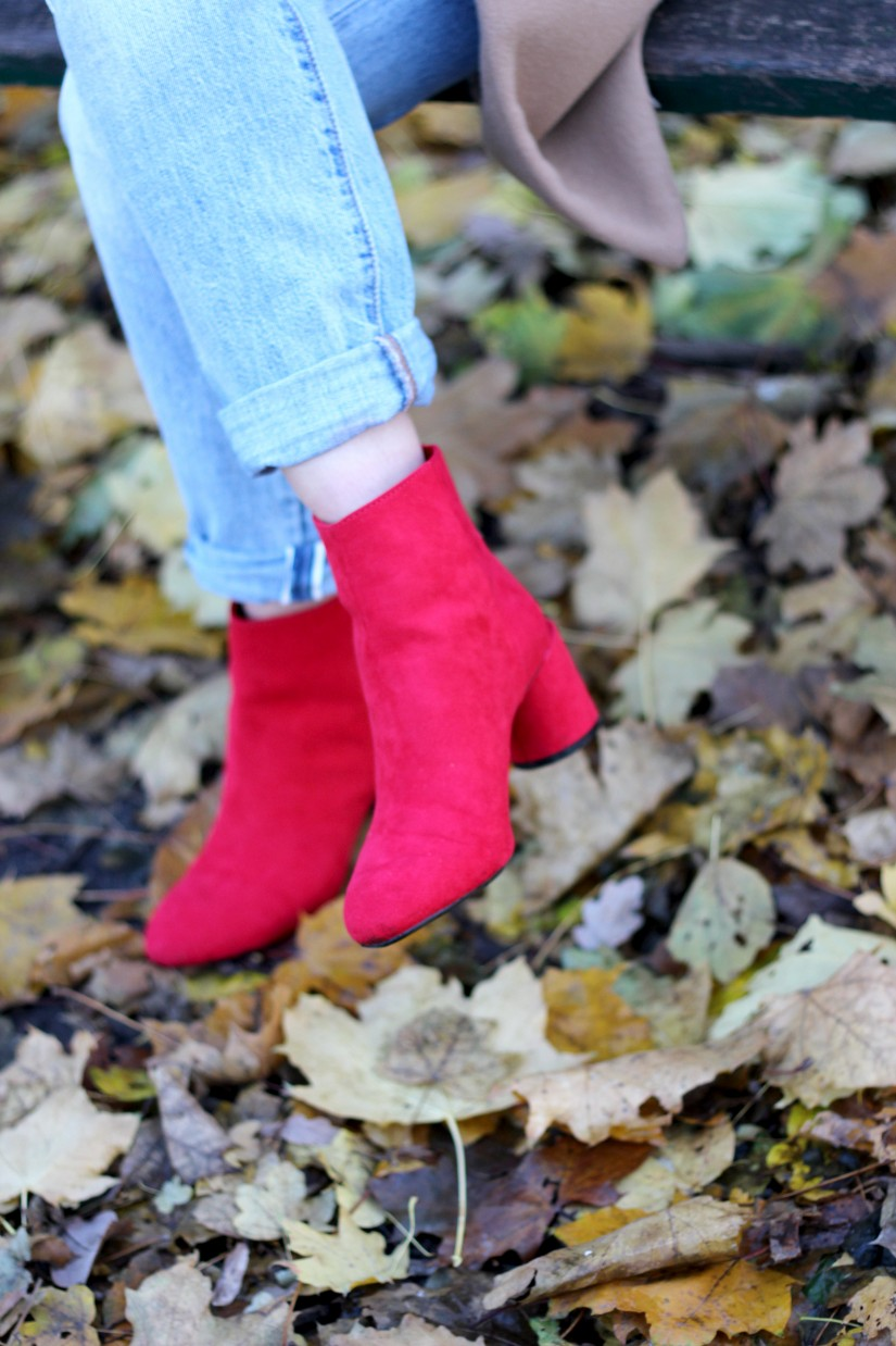 bottines rouges bershka
