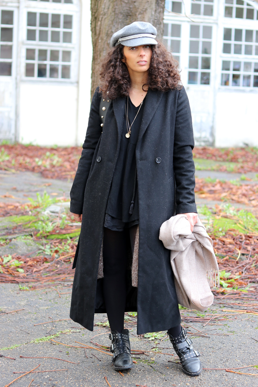 manteau long noir look