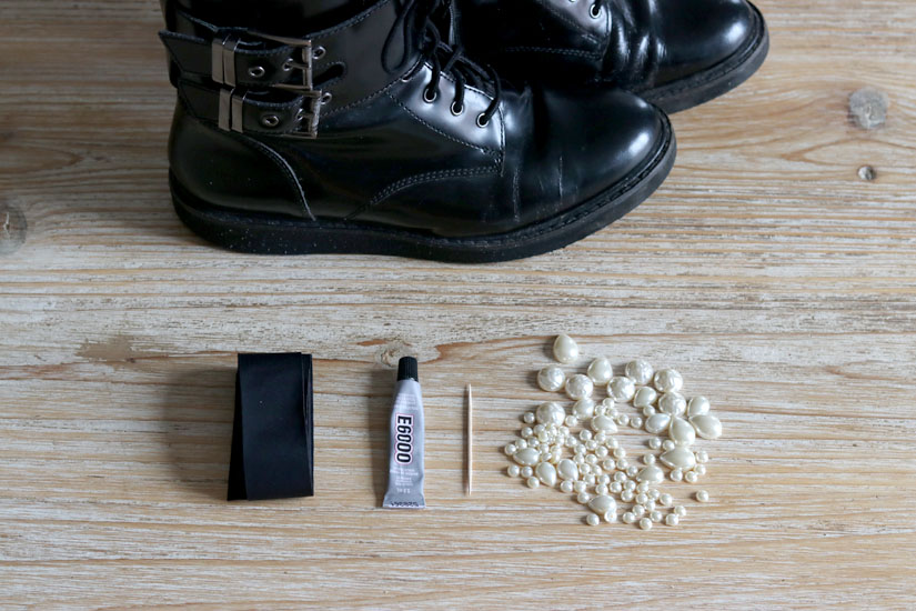 materiel pour des boots perlees