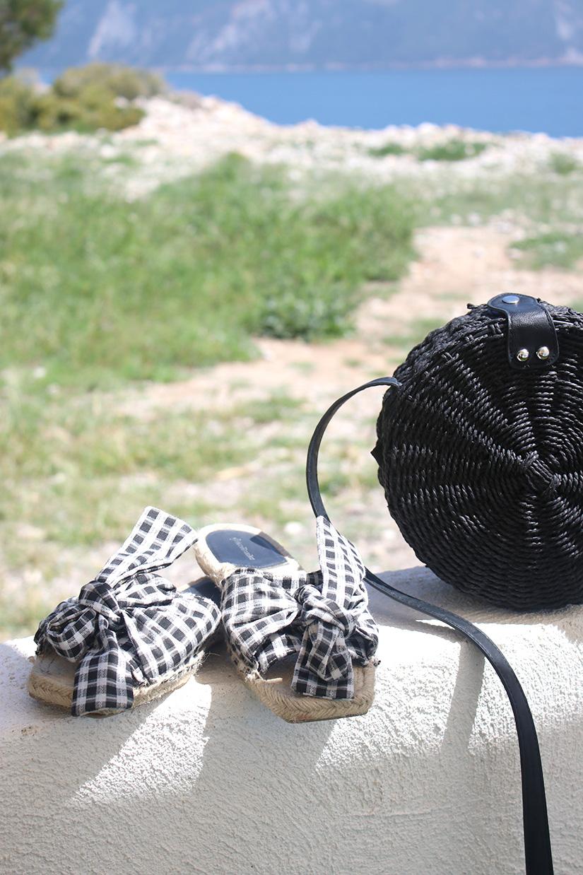 sandale vichy et panier rond