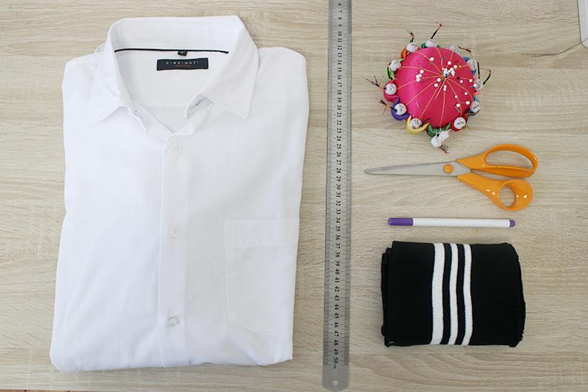 materiel chemise bords cotes