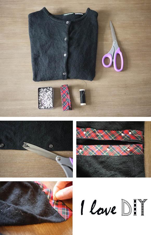 I love DIY tartan cardigan