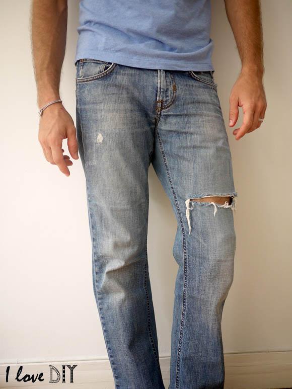 avant un jean troué