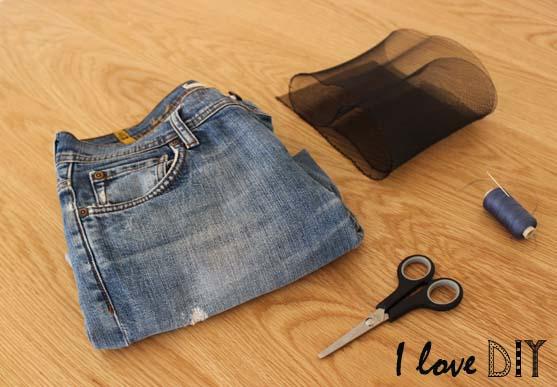 1 un jeans et de la resille pour un DIY grunge