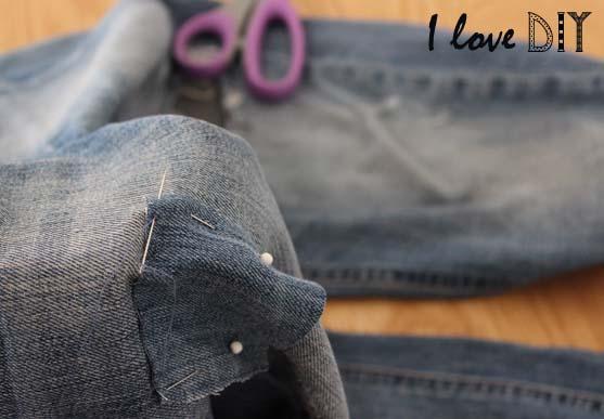 9 coudre le patch en jeans