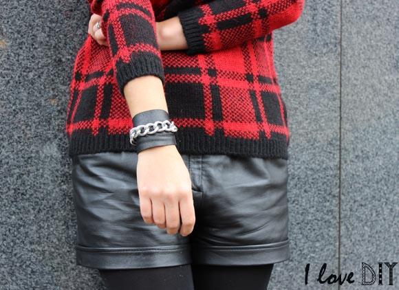 pull pimkie short en cuir vintage bracelet DIY