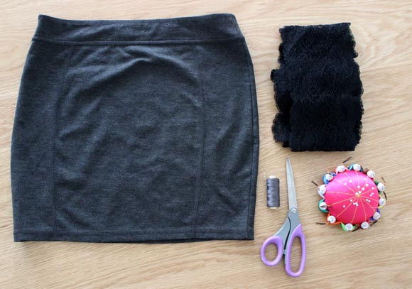 DIY customisez une jupe avec de la dentelle ILOVEDIY