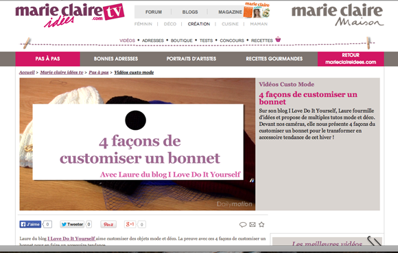 Video marie claire idées Custo bonnet