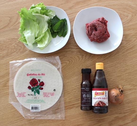 ingredients pour realiser des rouleaux de printemps