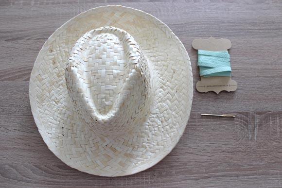 materiel pour customiser un chapeau de paille