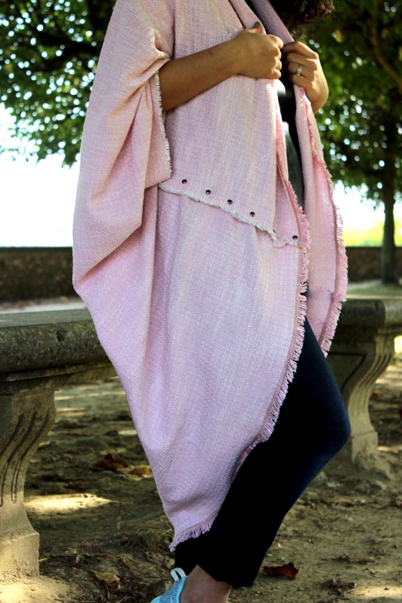 diy un poncho rose DIY
