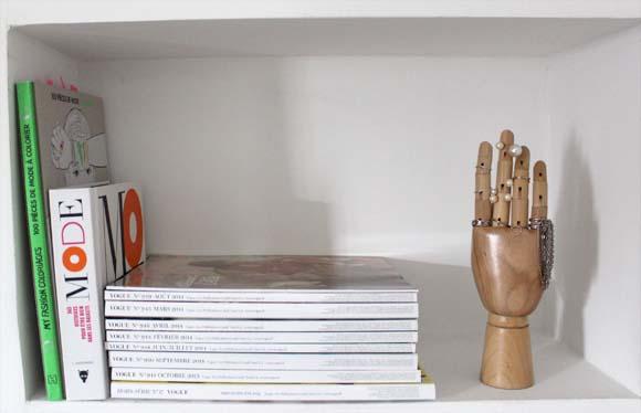 main en bois chiné