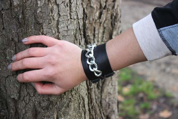 bracelet chaine et cuir diy