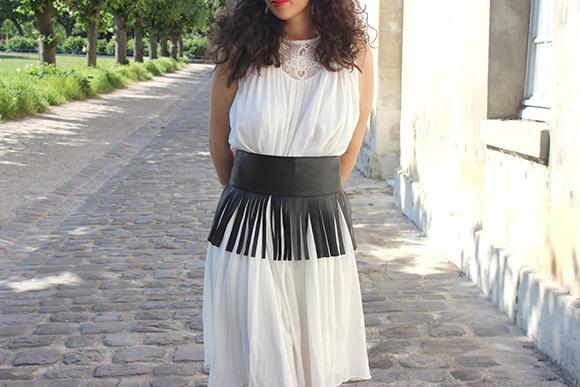 robe blanche zara ceinture franges
