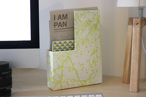 boite porte document diy a partir dune boite de cereale et de papier peint
