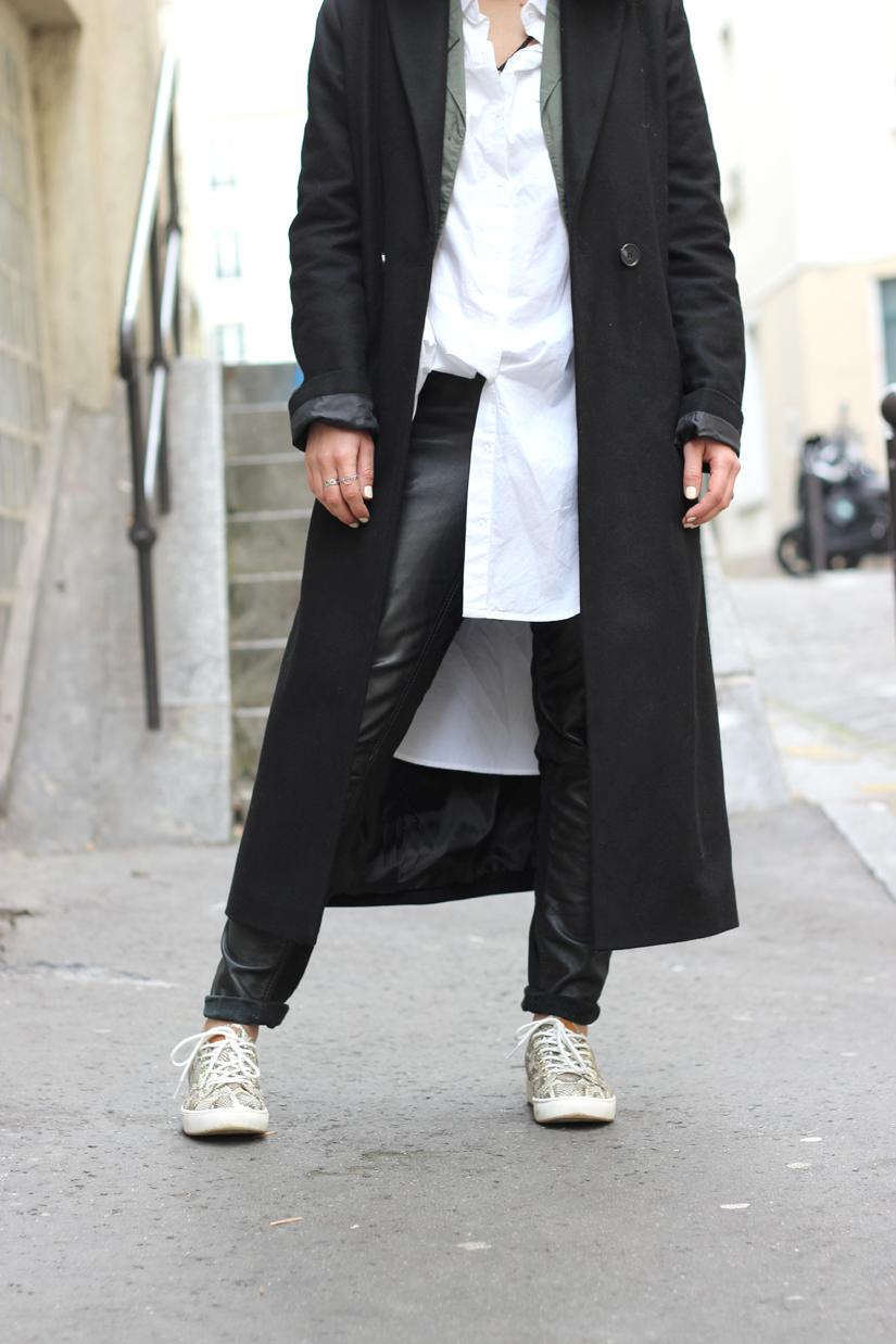 chemise blanche slim cuir