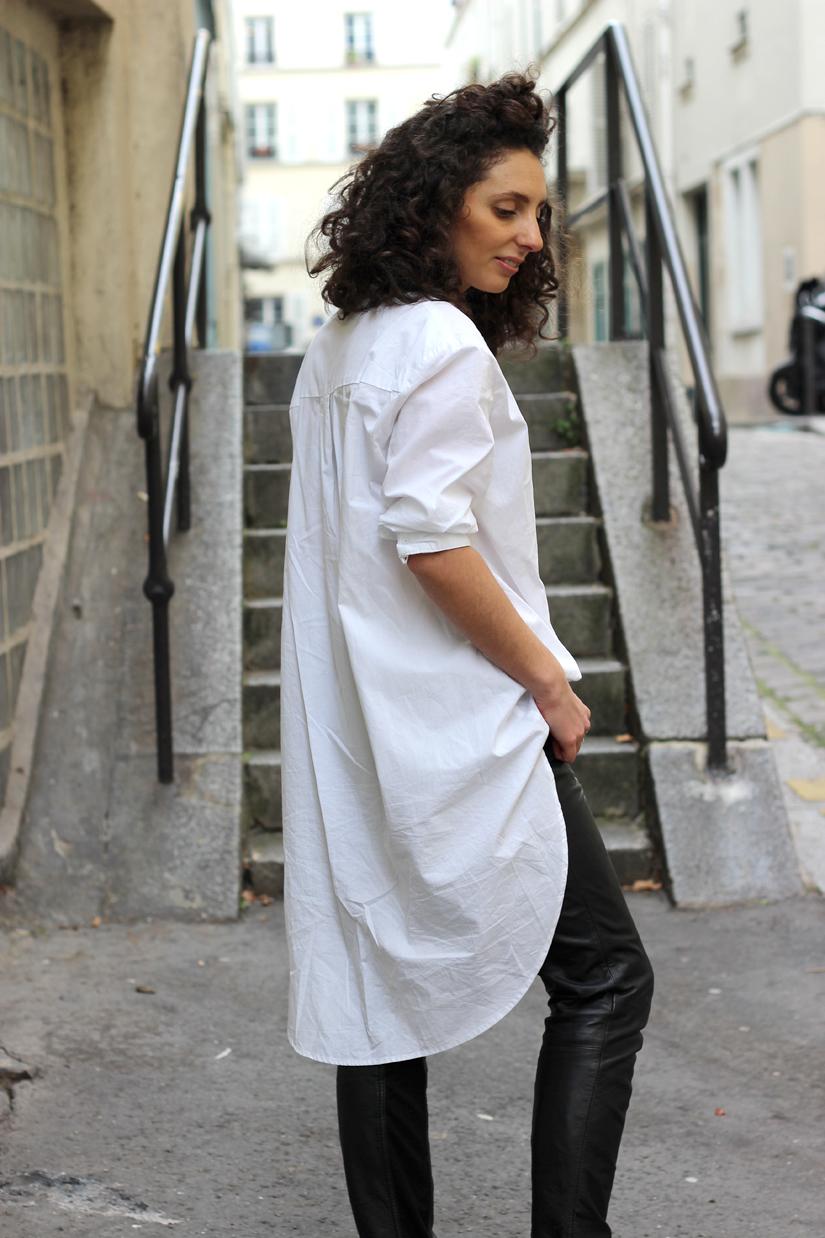 chemise blanche ultra longue slim noir cuir la redoute