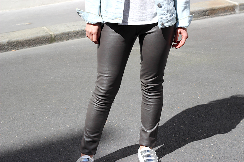 leggings cuir oakwood taupe bon plan mode paris