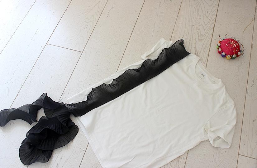 positionner le ruban crepe pour faire une bande de volants