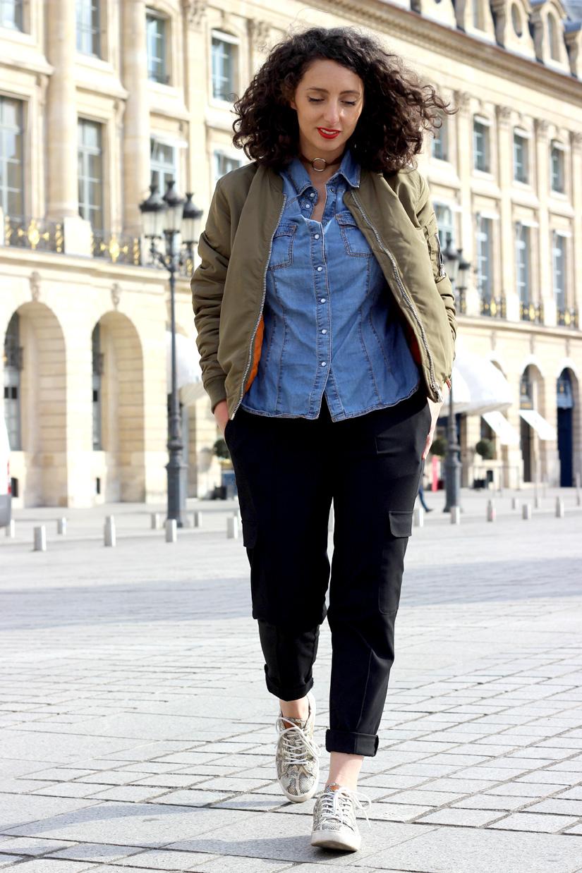 street style paris place vendome bombers kaki