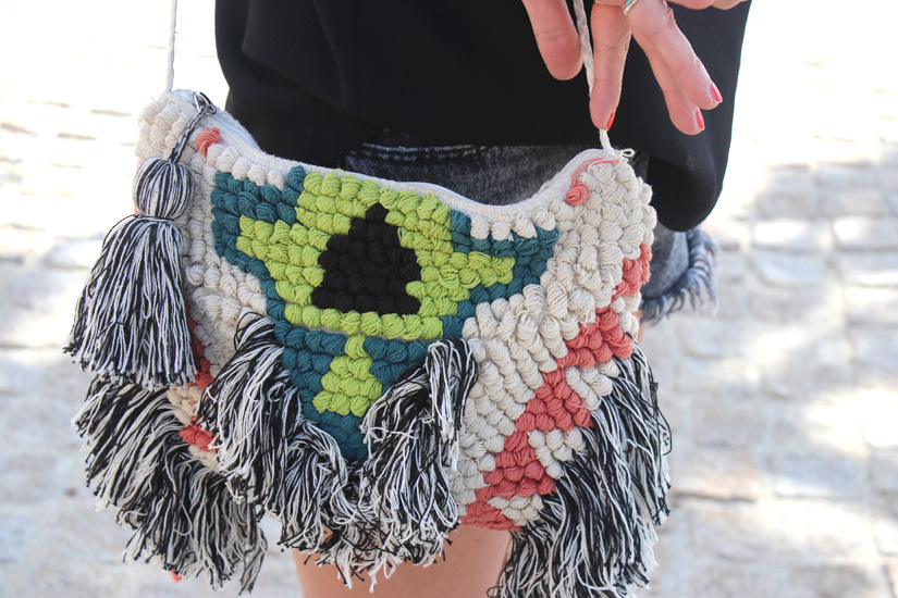 streetsyle blog mode la pochette tissage bershka transformee en sac
