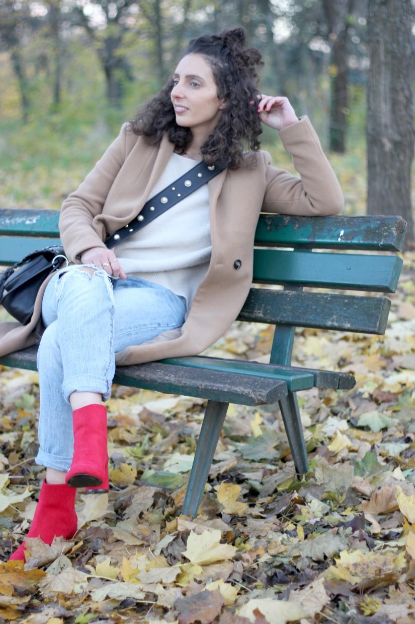 streetstyle en boots rouge